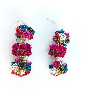 New!Multicolored Rose Ball Drop Statement Earrings